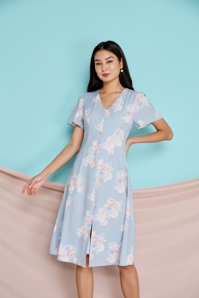 Micha Floral Button Midi Dress in Blue