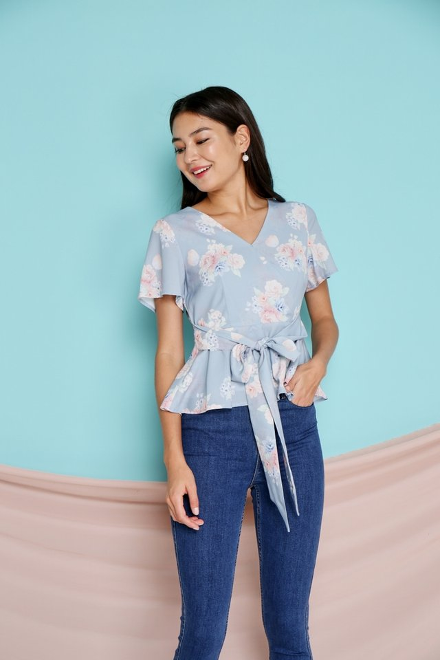 Blisse Floral Peplum Top in Blue