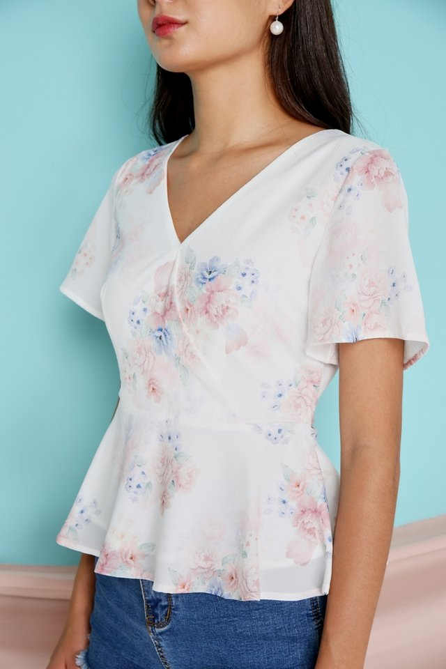 Blisse Floral Peplum Top in White