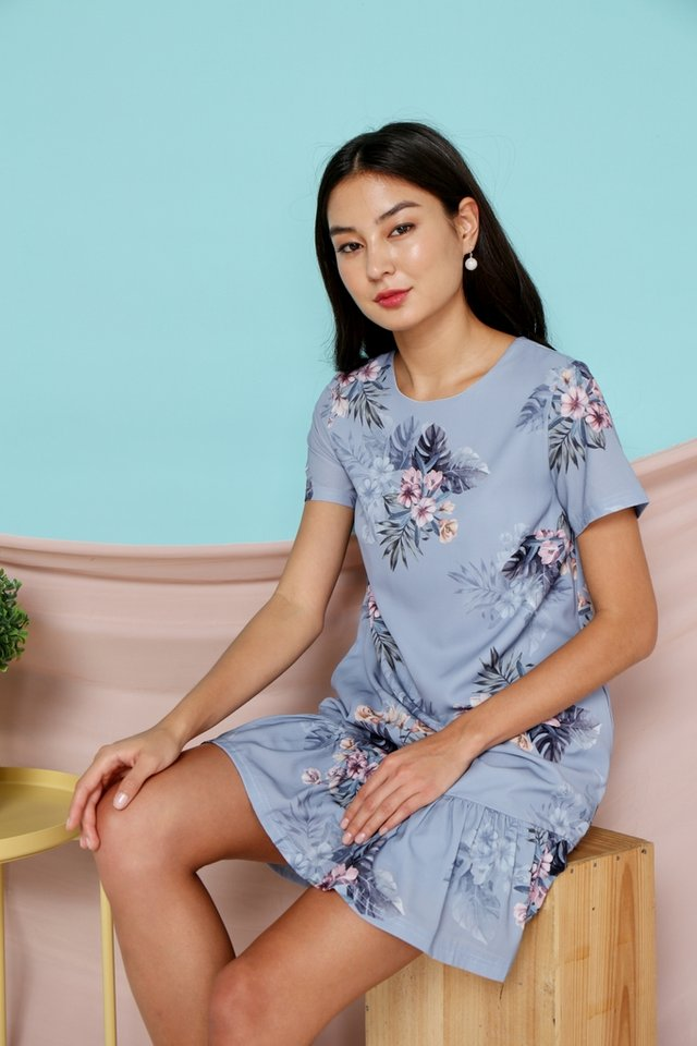 Sherelle Floral Dropwaist Dress in Blue