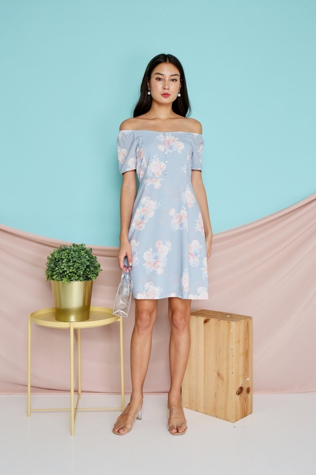 Paris 2-Way Floral Button Dress in Blue