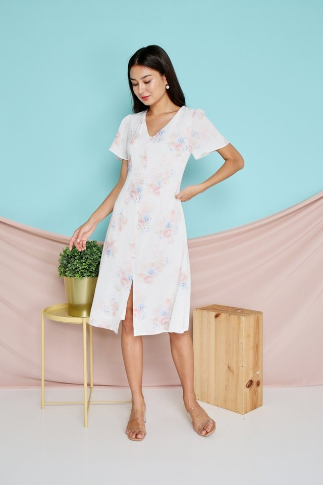 Micha Floral Button Midi Dress in White