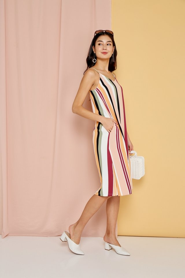 Rosella Multi Striped Midi Dress in Wine