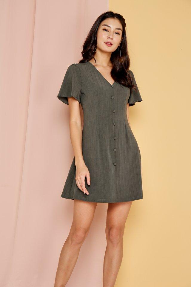 *Online Exclusive* Claudette V-Neck Button Dress in Olive