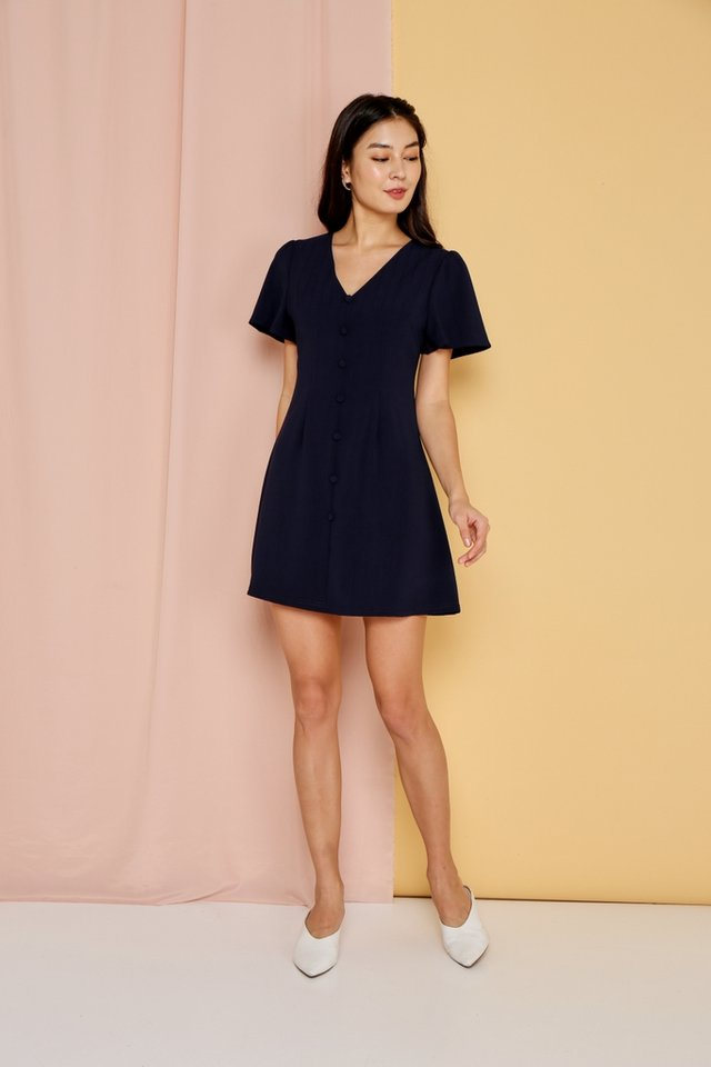 *Online Exclusive* Claudette V-Neck Button Dress in Navy