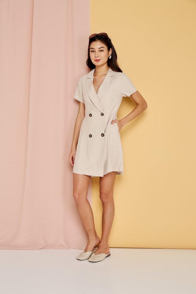 *Online Exclusive* Hazel Double Breasted Button Dress in Beige