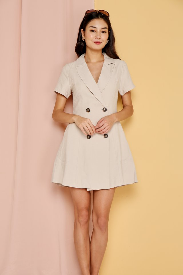 *Online Exclusive* Hazel Double Breasted Button Dress in Beige