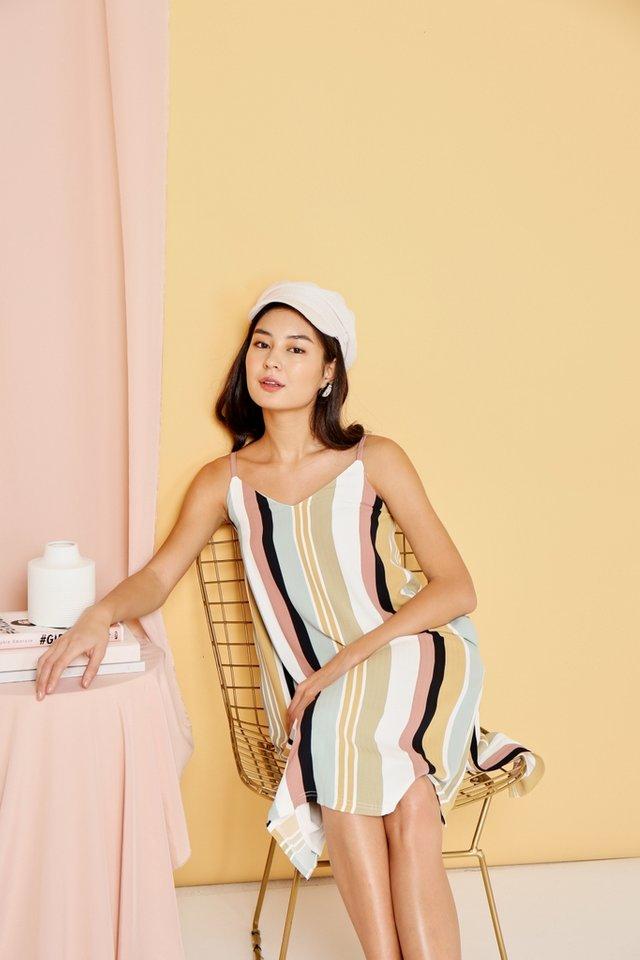 Rosella Multi Striped Midi Dress in Sage