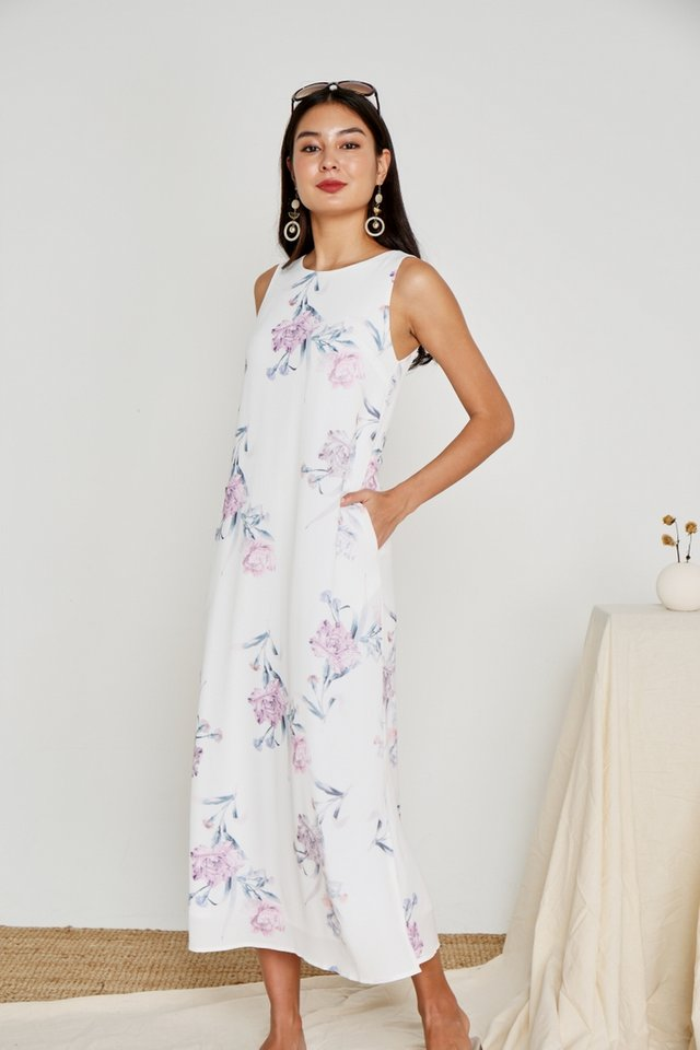 Wendey Floral Maxi Dress in White