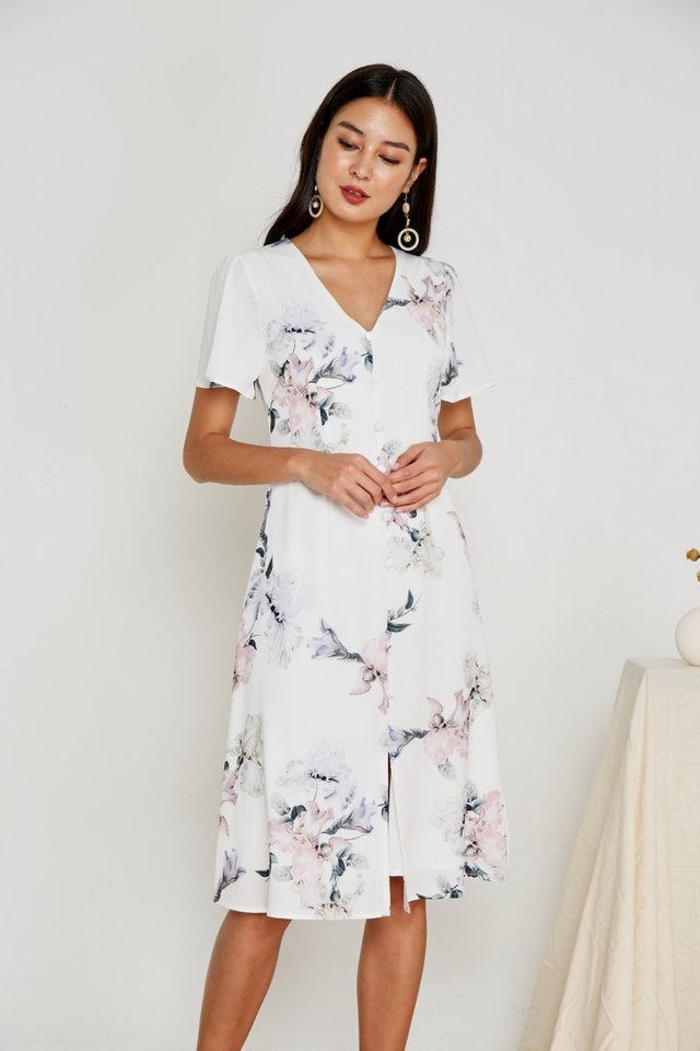 Adeen Button Floral Midi Dress in White