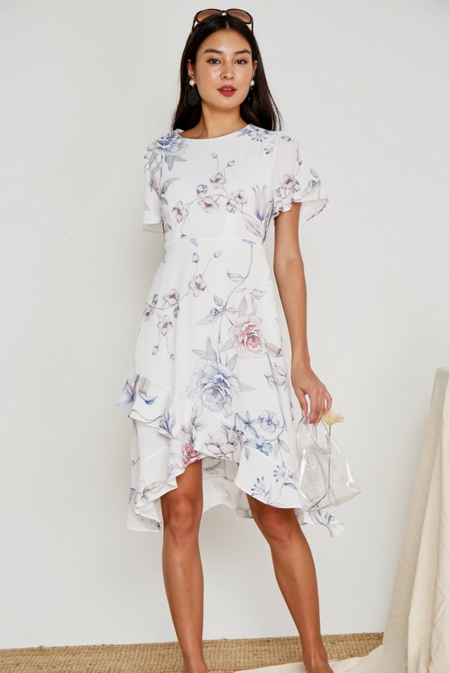 Aleena Floral Petal Hem Midi Dress in White