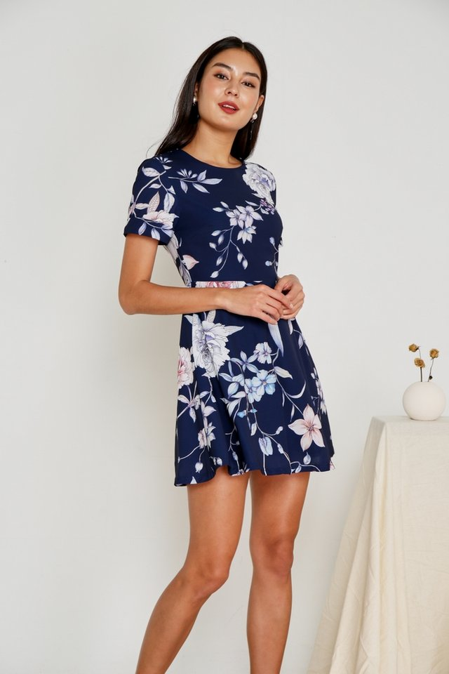 Tamia Floral Skater Dress in Navy