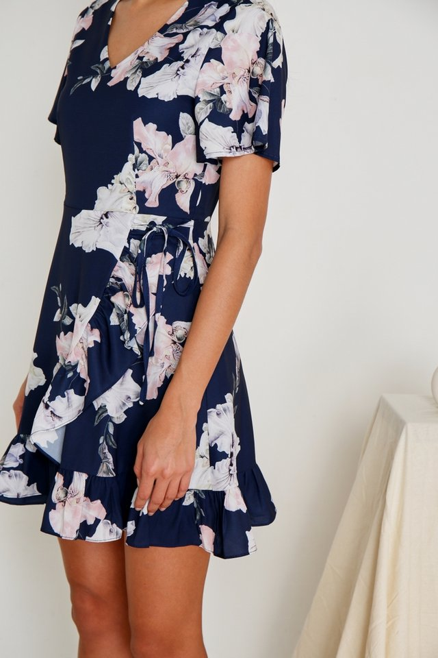 Heiran Signature Floral Ruffles Dress in Navy