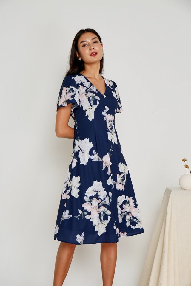 Adeen Button Floral Midi Dress in Navy
