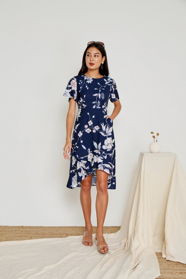 Aleena Floral Petal Hem Midi Dress in Navy