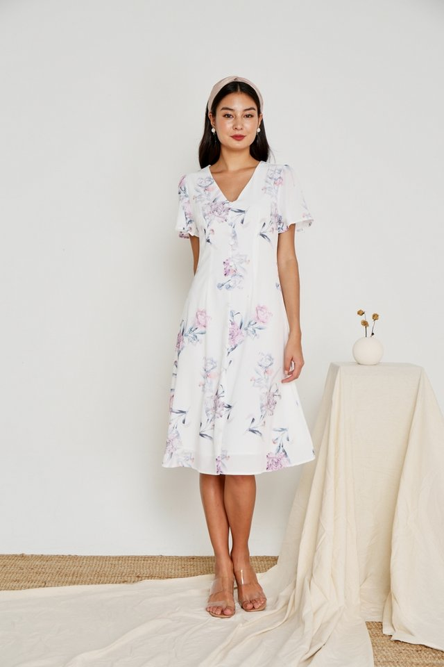 Levona Floral Button Midi Dress in White