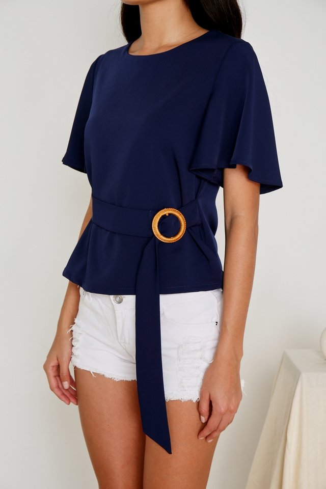 Isabelle Buckle Rattan Top in Navy