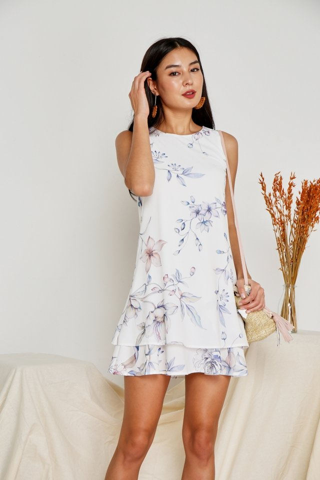 Valerian Floral Tiered Hem Dress in White