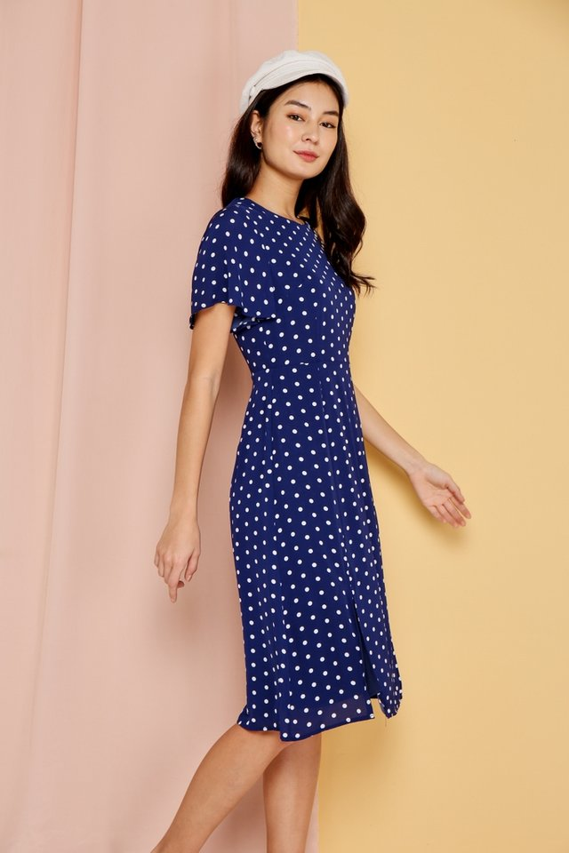 Parisa Polka Dots Flare Sleeves Midi Dress in Navy