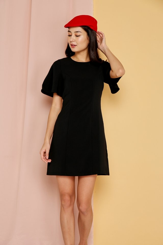 Emmy Flare Sleeves Dress in Black