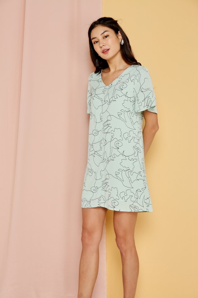 Floella Abstract Button Shift Dress in Melon