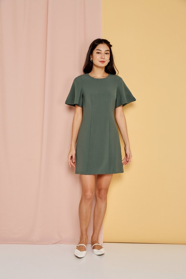 Emmy Flare Sleeves Dress in Olive