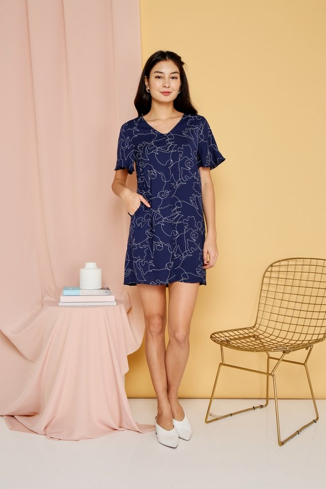 Floella Abstract Button Shift Dress in Navy