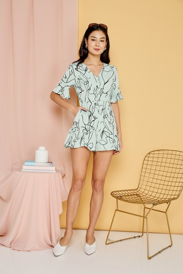 Nanna Abstract Signature Romper in Melon