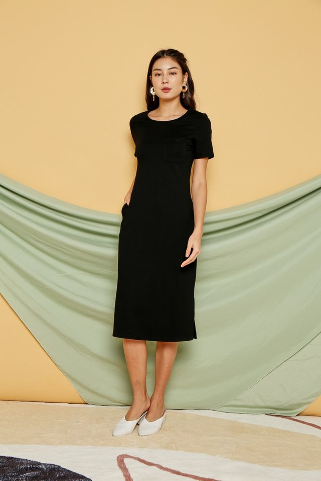 Gracie Pocket Midi Dress in Black