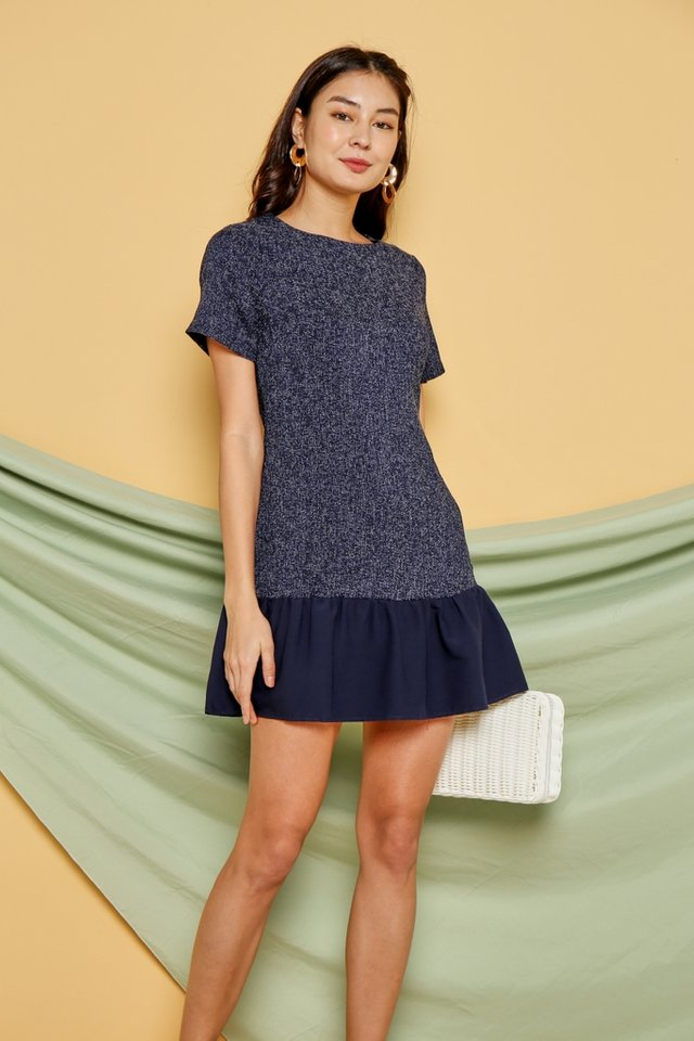 Quinn Tweed Dropwaist Dress in Navy