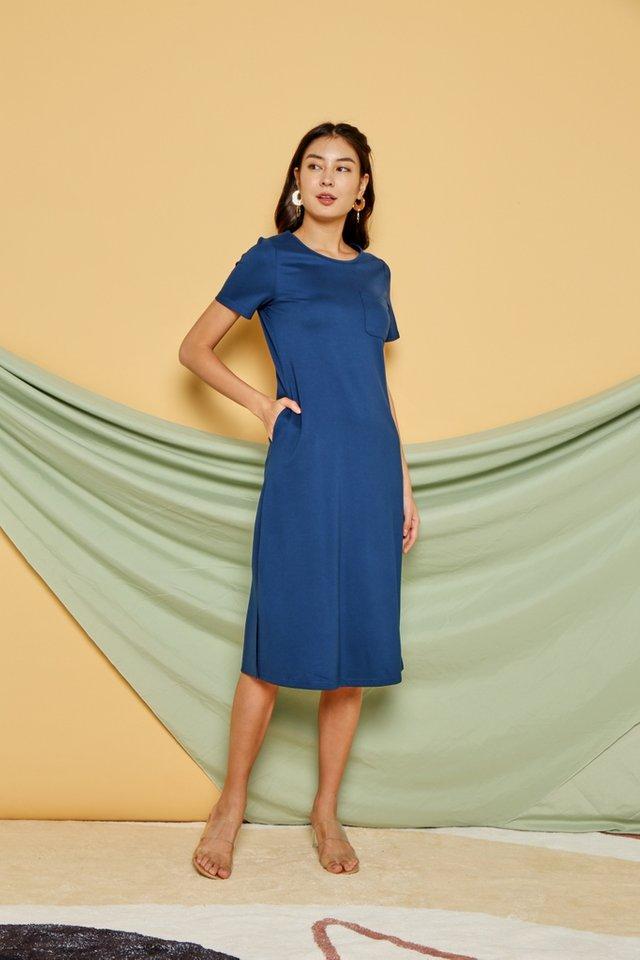 Gracie Pocket Midi Dress in Teal