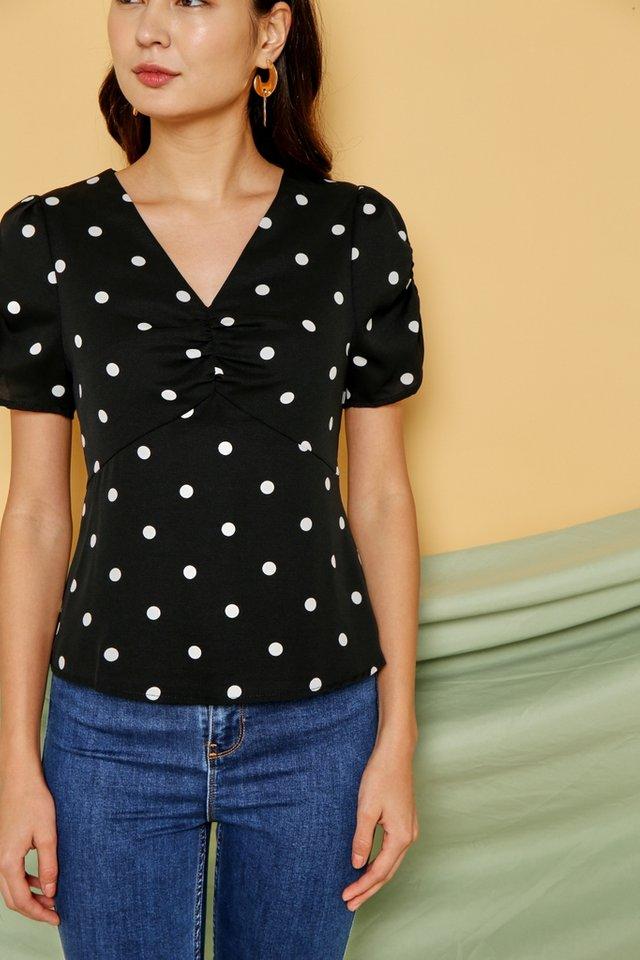 Chloe Polka Dot Ruched Top in Black