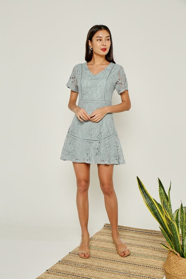 Jewel Premium Lace Eyelet Trim Dress in Seafoam