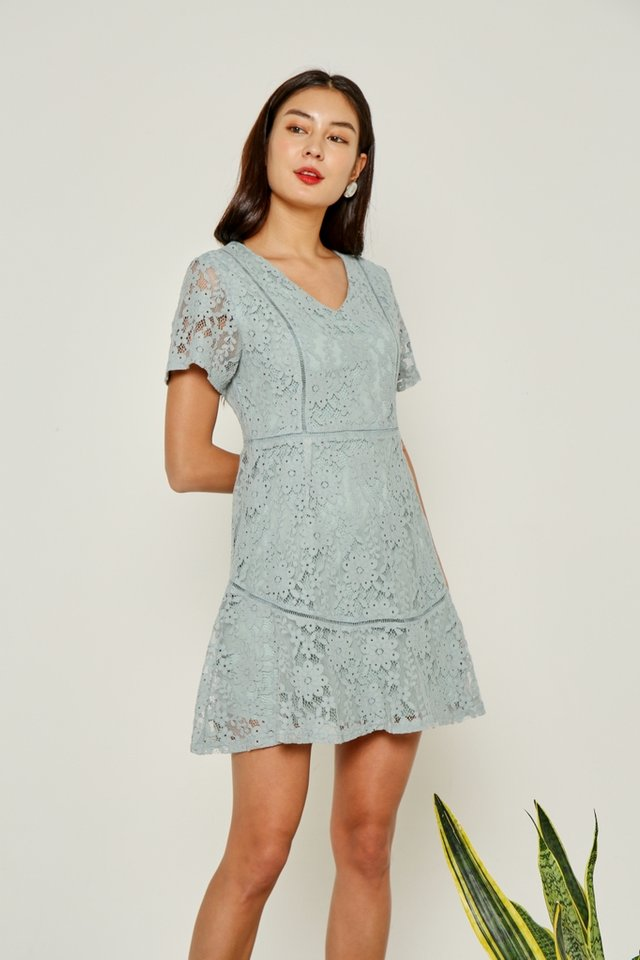 Jewel Premium Lace Eyelet Trim Dress in Seafoam