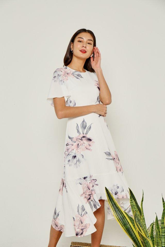 *Online Exclusive* Perrine Floral Drape Hem Midi Dress in White