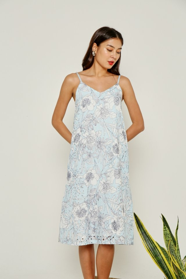 Seychelle Camisole Eyelet Midi Dress in Blue