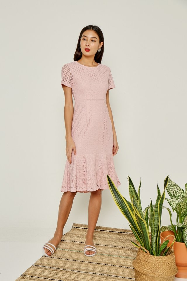 *Online Exclusive* Sydnea Lace Midi Ruffles Hem Dress in Pink