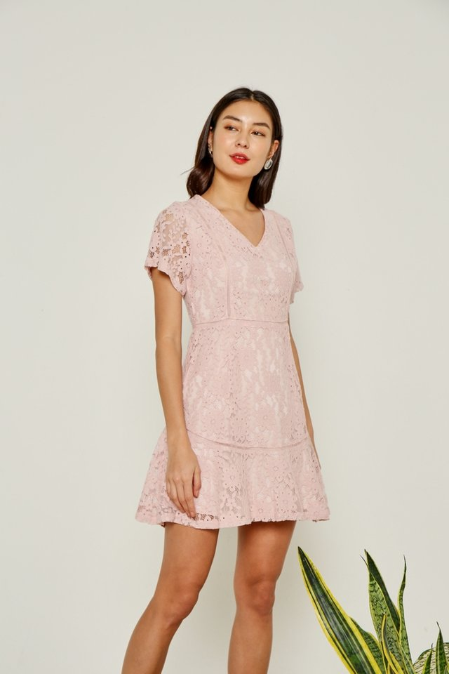 Jewel Premium Lace Eyelet Trim Dress in Pink