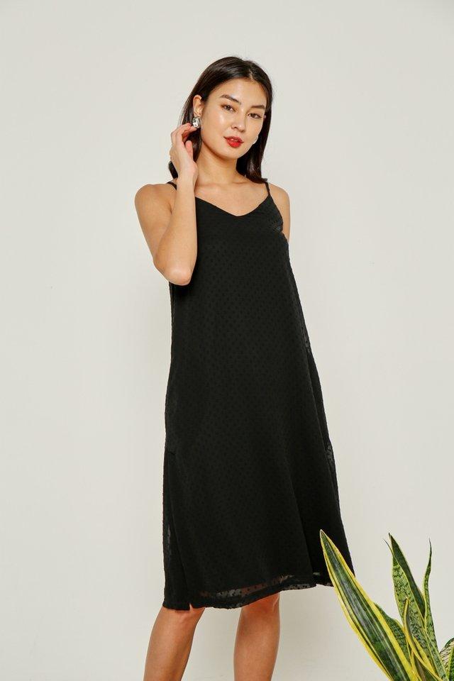 Aemela Swiss Dot Midi Dress in Black