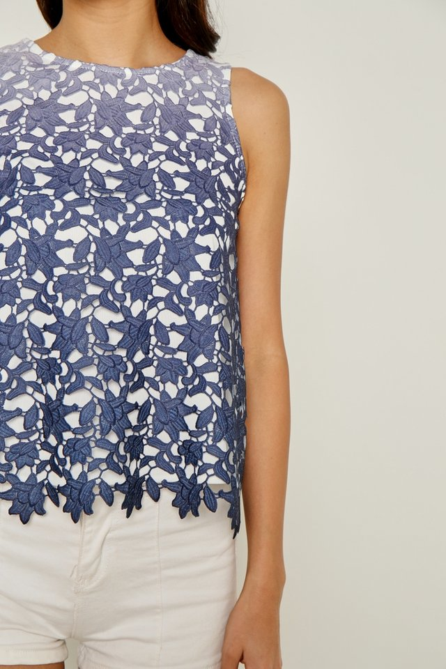 *Online Exclusive* Jazmine Ombre Crochet Sleeveless Top in Navy