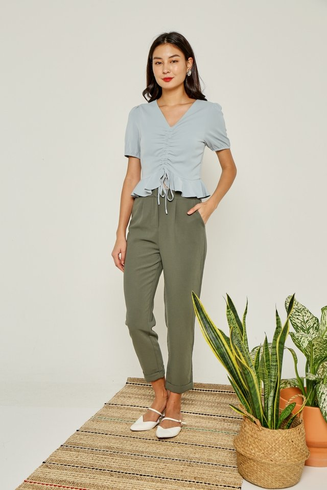 Lizbeth Cuffed Peg Leg Pants in Olive