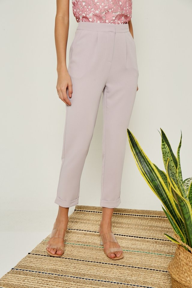 Lizbeth Cuffed Peg Leg Pants in Grey