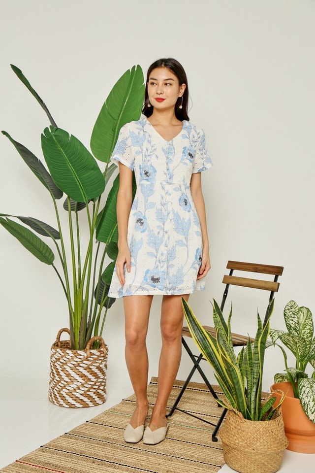 Tiana Floral Button Eyelet Dress in Blue