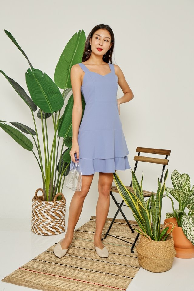 Savannah Tiered Hem Dress in Periwinkle Blue