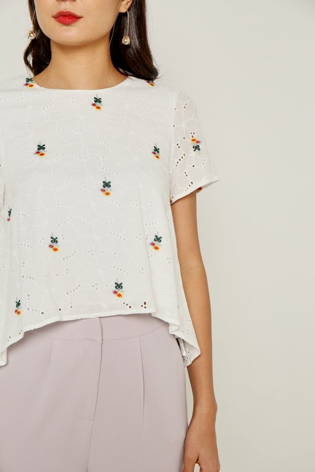 Lia Floral Embroidery Drape Eyelet Top in White