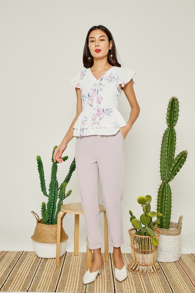 Shantel Floral Faux Button Top in White