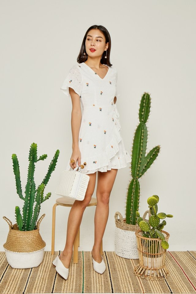 *BACKORDER* Halle Floral Embroidery Signature Ruffles Eyelet Dress in White