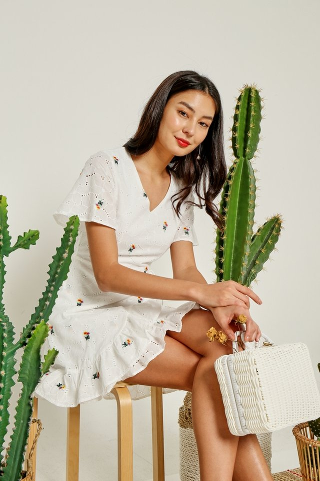 Halle Floral Embroidery Signature Ruffles Eyelet Dress in White