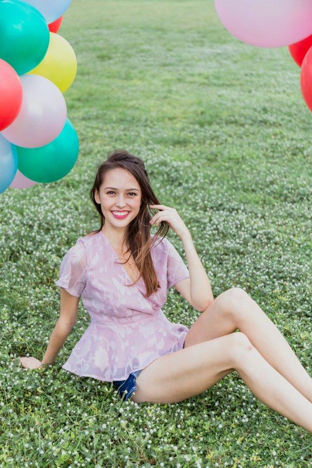 Jenna Floral Jacquard Peplum Top in Pink
