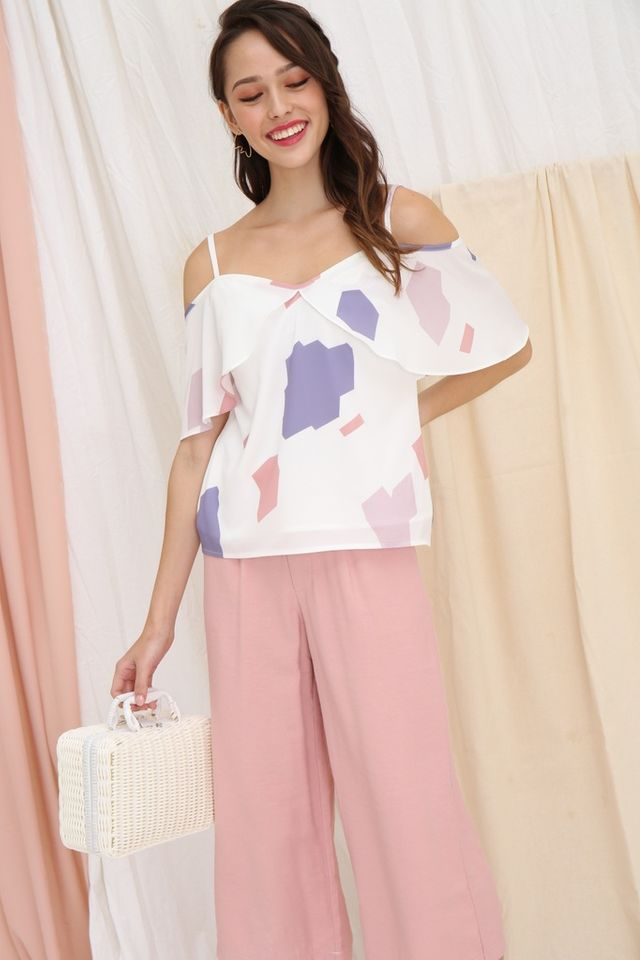 Nadia Printed Cold-Shoulder Top in White